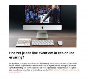 live event naar online